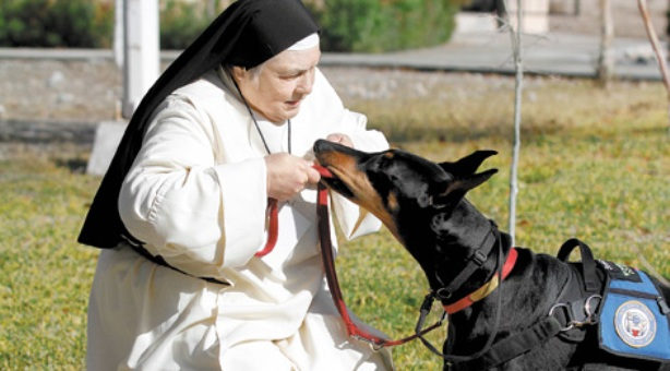 La monja amiga de los perros