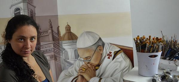 Desde el fin del mundo traen a Querétaro al Papa Francisco en pintura